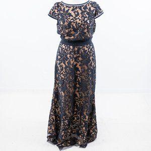 Tadashi Shoji 16 Floral Lace Gown Maxi Dress Navy